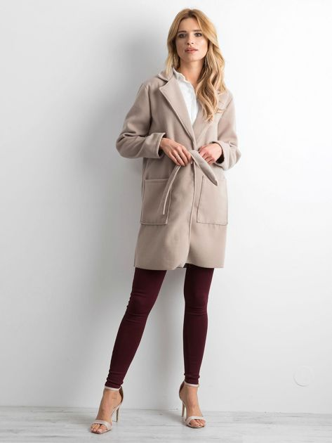 Beżowy flauszowy płaszcz z paskiem                              zdj.                              4