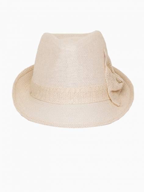 Beżowy kapelusz fedora z ażurową kokardą                                  zdj.                                  2