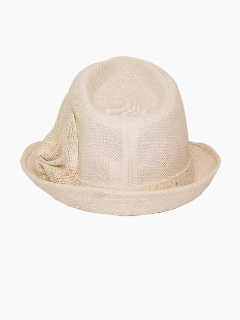 Beżowy kapelusz fedora z ażurową kokardą                                  zdj.                                  5