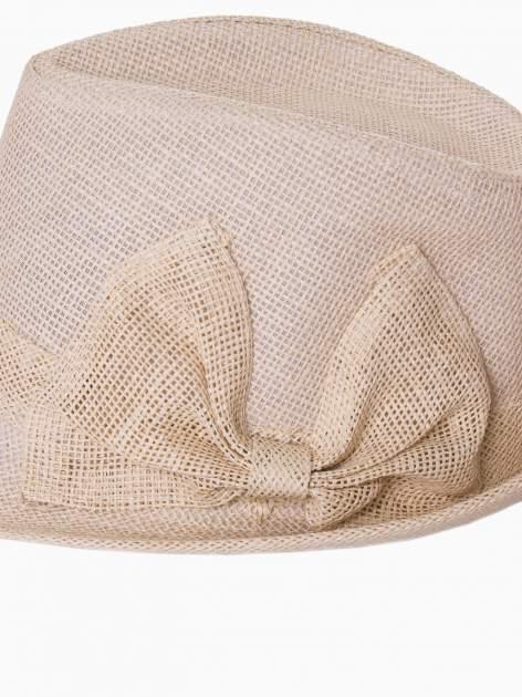 Beżowy kapelusz fedora z ażurową kokardą                                  zdj.                                  9
