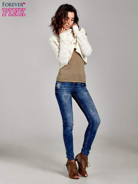 Beżowy krótki sweter narzutka z kołnierzem                                  zdj.                                  4