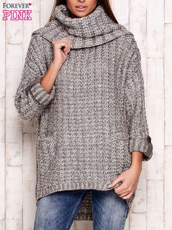 Beżowy melanżowy sweter z szerokim golfem i kieszeniami                                   zdj.                                  1