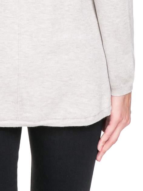 Beżowy otwarty sweter narzutka z dłuższym tyłem                                  zdj.                                  7