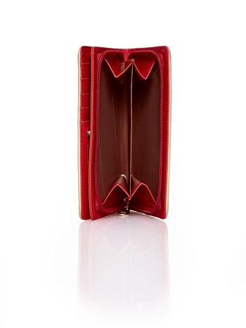 Beżowy pleciony portfel w geometryczne wzory                                  zdj.                                  4