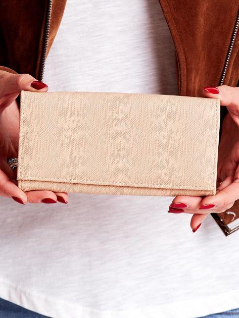 Beżowy portfel damski ze skóry ekologicznej