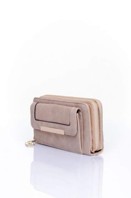 Beżowy portfel z kieszonką ze złotym elementem                                  zdj.                                  3