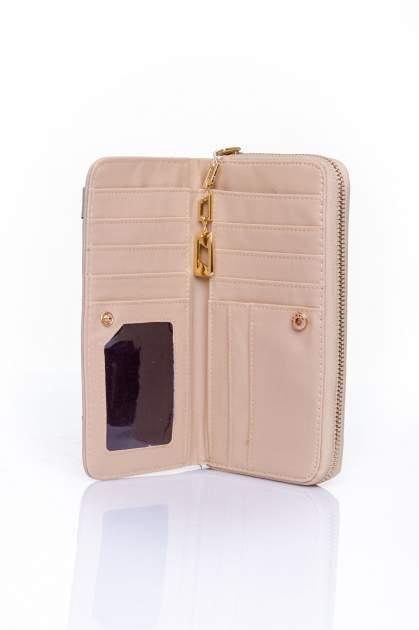 Beżowy portfel z kieszonką ze złotym elementem                                  zdj.                                  4