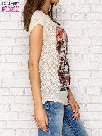 Beżowy siateczkowy t-shirt z literą A z dżetami                                  zdj.                                  3