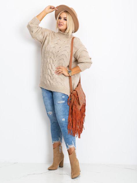 Beżowy sweter plus size Bridge                              zdj.                              4