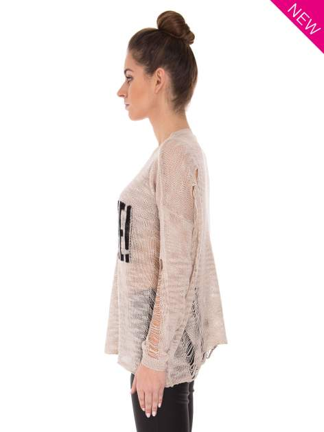 Beżowy sweter z nadrukiem i efektem destroyed                                   zdj.                                  3