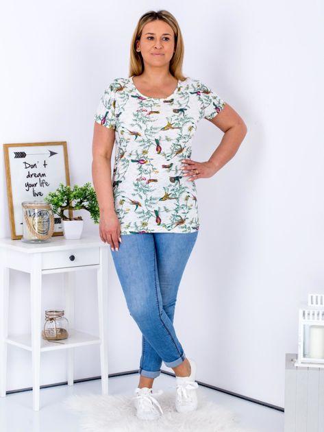 Beżowy t-shirt z motywem ptaków PLUS SIZE                              zdj.                              4