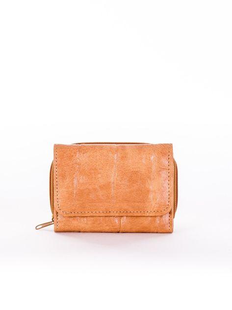 Beżowy tłoczony portfel damski