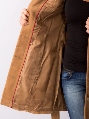 Beżowy wełniany płaszcz ze skórzanym paskiem                                  zdj.                                  8
