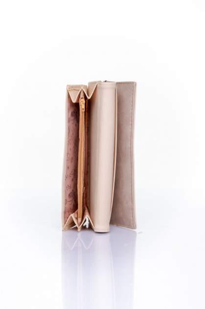 Beżowy zamszowy portfel z geometrycznym motywem                                  zdj.                                  5