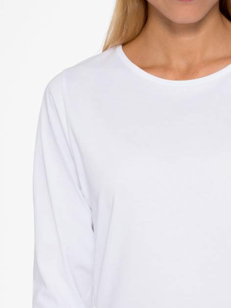Biała basicowa bluzka z rękawem 3/4                                  zdj.                                  6