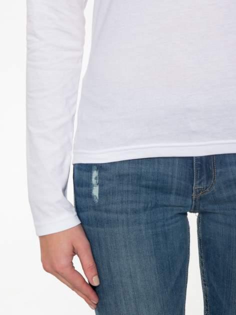 Biała bawełniana bluzka typu basic z długim rękawem                                  zdj.                                  7