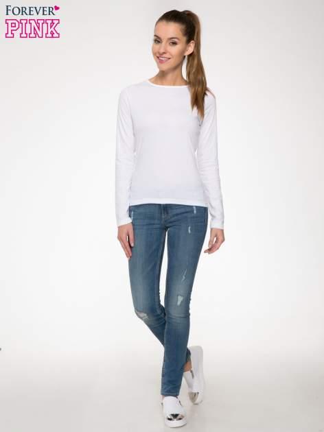 Biała bawełniana bluzka typu basic z długim rękawem                                  zdj.                                  2