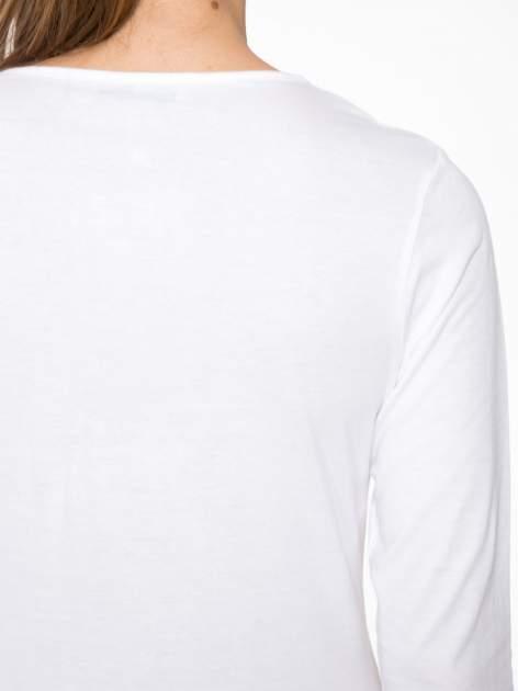 Biała bawełniana bluzka typu basic z długim rękawem                                  zdj.                                  8
