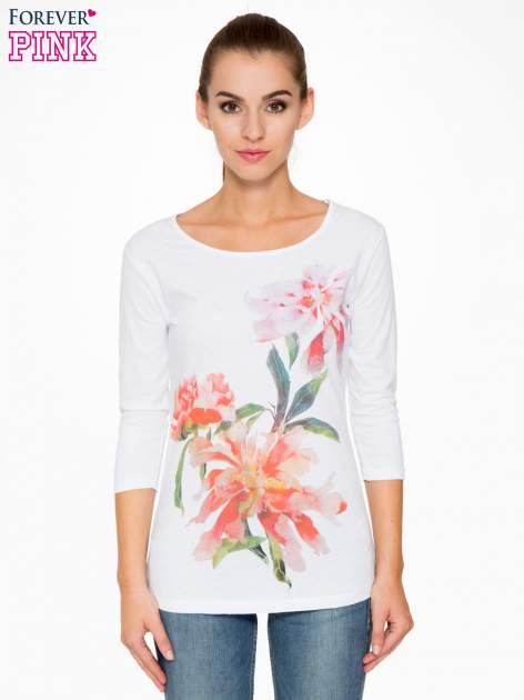 Biała bawełniana bluzka z motywem kwiatowym                                  zdj.                                  1