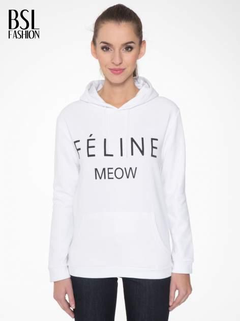 Biała  bluza kangur z kapturem i nadrukiem FÉLINE MEOW