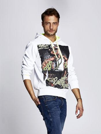 Biała bluza męska z raperskim nadrukiem                                   zdj.                                  3