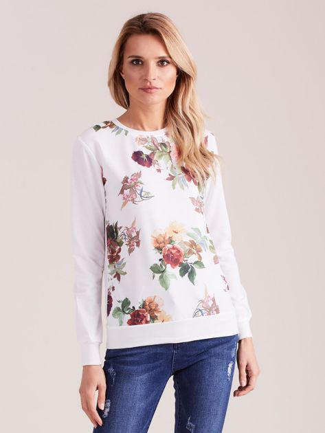 Biała bluza retro w kwiaty                              zdj.                              2