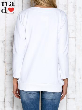 Biała bluza z dekoltem w łódkę                                  zdj.                                  4