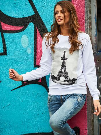 Biała bluza z motywem Wieży Eiffla                                  zdj.                                  1
