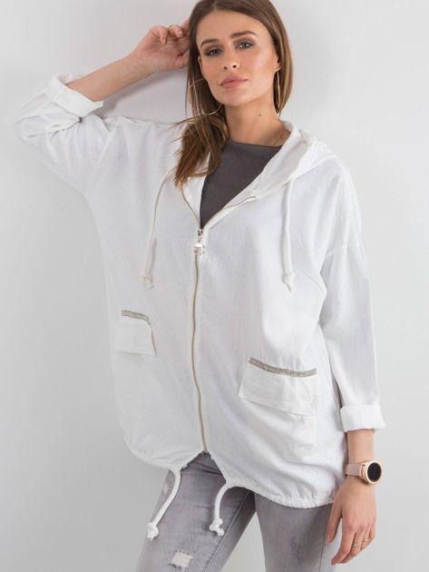Biała bluza z nadrukiem i kapturem                              zdj.                              5
