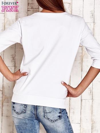 Biała bluza z naszywkami i ściągaczami                                  zdj.                                  2