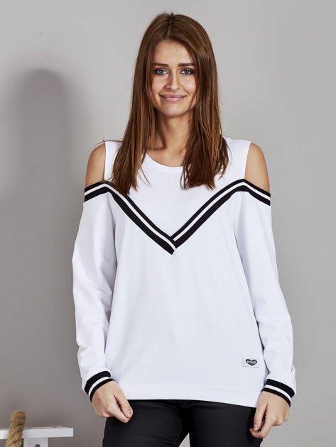 Biała bluza z ukośnymi ściągaczami                              zdj.                              1