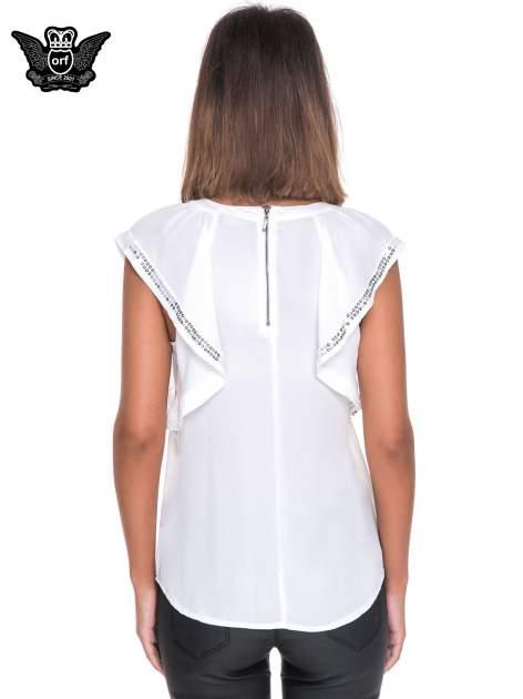 Biała bluzka koszulowa motylek z cekinami                                  zdj.                                  4