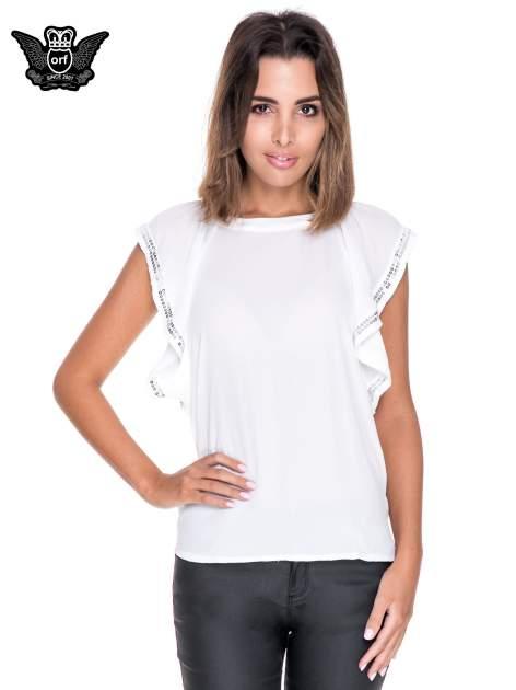 Biała bluzka koszulowa motylek z cekinami                                  zdj.                                  1