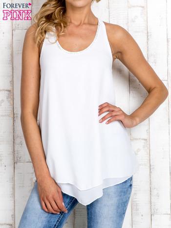 Biała bluzka koszulowa z aplikacją przy dekolcie                                  zdj.                                  1