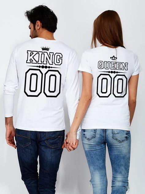 Biała bluzka męska dla par z nadrukiem KING na plecach                                  zdj.                                  3