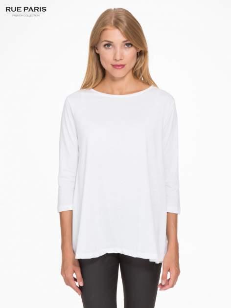 Biała bluzka o rozkloszowanym kroju z rękawem 3/4                                  zdj.                                  1