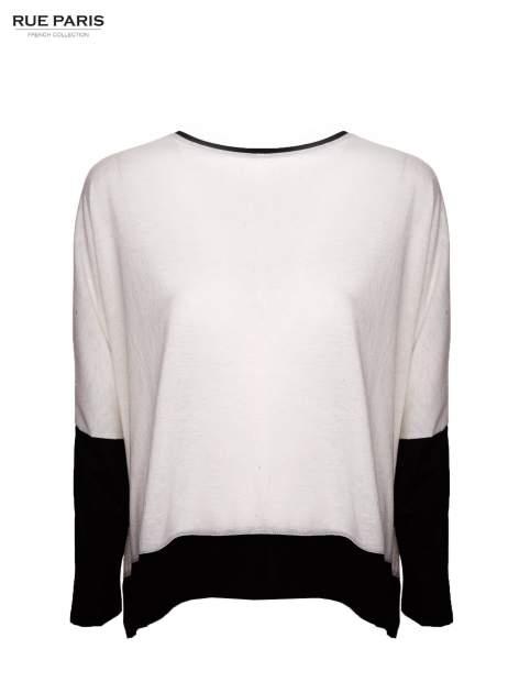 Biała bluzka z kontrastowymi wstawkami                                  zdj.                                  4