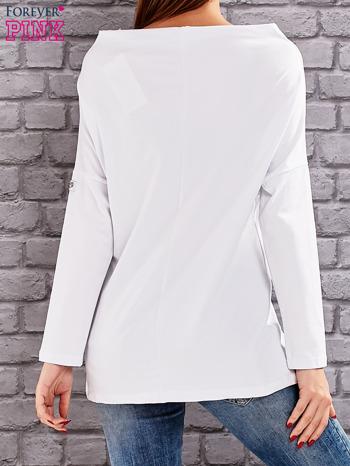 Biała bluzka z koralikową aplikacją                                  zdj.                                  4