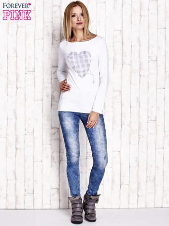 Biała bluzka z materiałową wstawką                                  zdj.                                  2