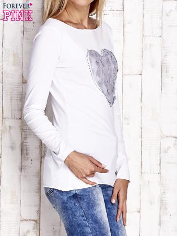 Biała bluzka z materiałową wstawką                              zdj.                              3