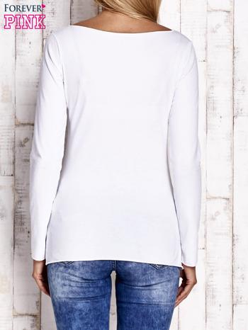 Biała bluzka z materiałową wstawką                              zdj.                              4