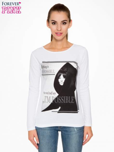 Biała bluzka z nadrukiem Audrey Hepburn