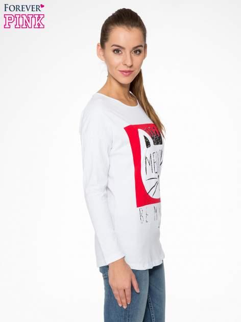 Biała bluzka z nadrukiem kota z koroną i napisem MEOW                                  zdj.                                  3