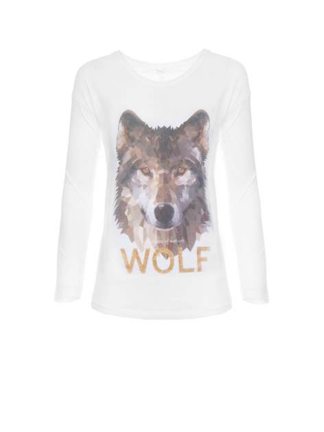 Biała bluzka z nadrukiem wilka i brokatowym napisem WOLF                                  zdj.                                  5
