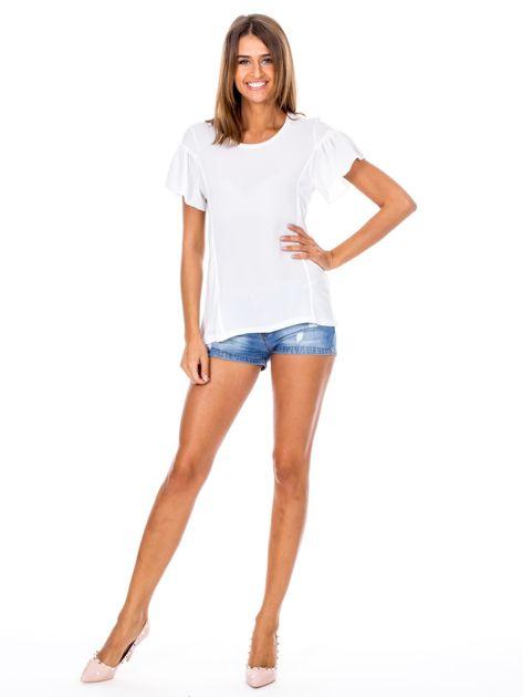 Biała bluzka z szerokimi rękawami                              zdj.                              4