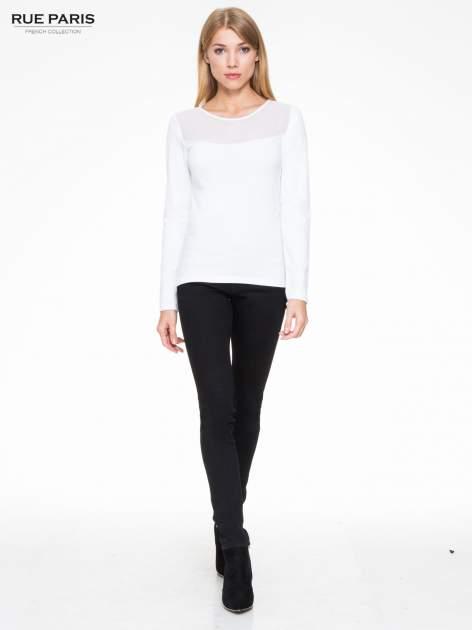 Biała bluzka z tiulowym karczkiem                                  zdj.                                  2