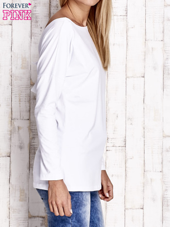 Biała bluzka z wycięciem na plecach i kokardą                                  zdj.                                  3