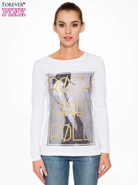 Biała bluzka ze złotym brokatowym napisem ROCK AND ROLL                                  zdj.                                  1