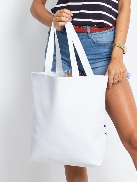 Biała duża torba z nadrukiem                              zdj.                              2