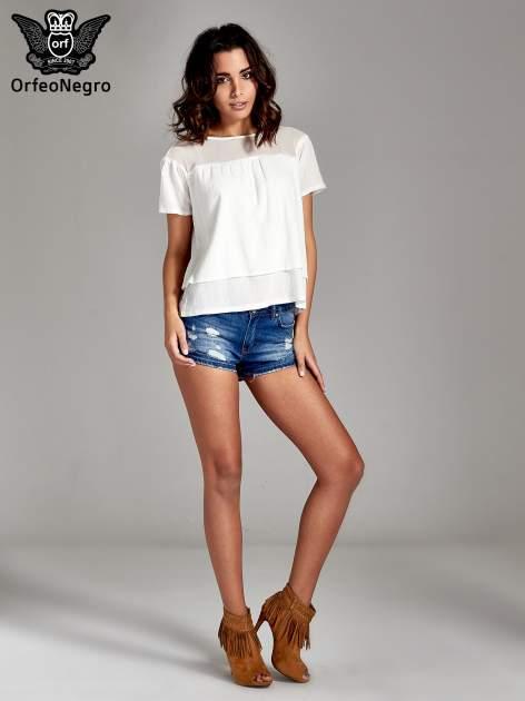Biała dwuwarstwowa bluzka koszulowa z transparentnym karczkiem                                  zdj.                                  7